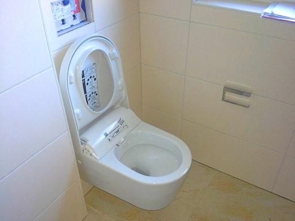 Das moderne Dusch-WC reinigt gründlich mit Wasser