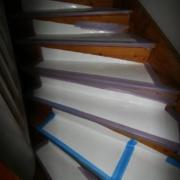 Schutzfolie für die empfindliche Holztreppe