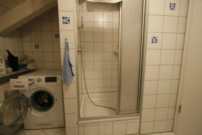 Dusche vorher hoher Einstieg